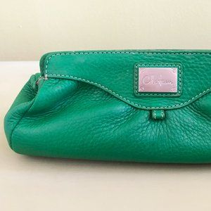 Cole Haan Green leather cosmetic case clutch